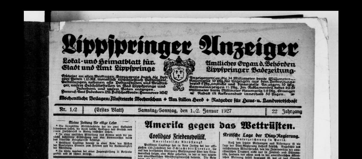 Titelseite des Lippspringer Anzeiger vom 1. Januar 1927