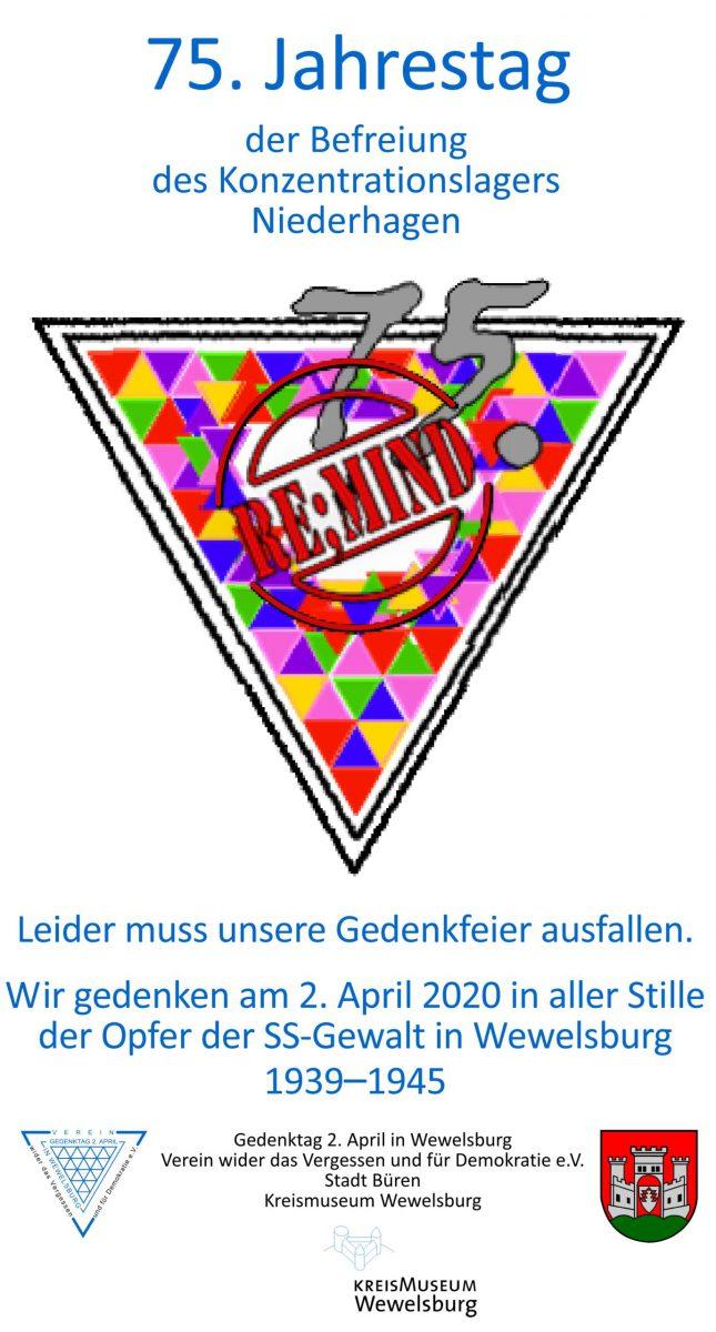 Anzeige zum 75. Jahrestag der befreiung des Konzentrationslagers Wewelsburg