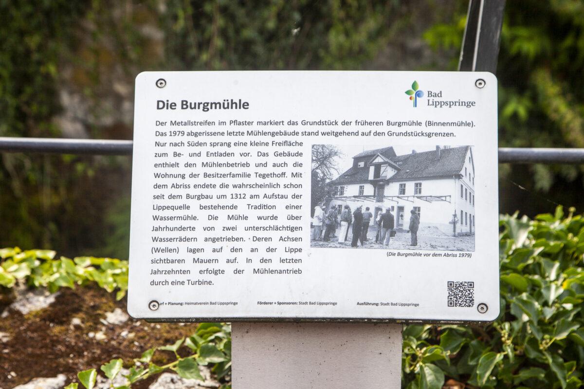 Informationstafel zur Burgmühle