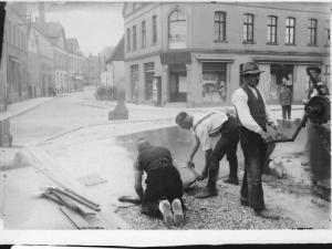 Straßenarbeiten in Bad Lippspringe Lange Straße, Höhe alter Marktplatz rechts