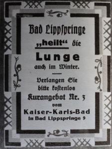 Kaiser-Karls-Bad, Werbeanzeige ca. 1927